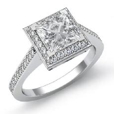 Halo Pave Filigree Sidestone Princess diamond engagement Ring in 14k Gold White