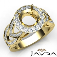 Round Semi Mount Diamond Engagement Ring Halo Pave Set 18k Gold Yellow Band  (1.25Ct. tw.)