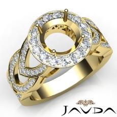 Round Semi Mount Diamond Engagement Ring Halo Pave Set 14k Gold Yellow Band  (1.25Ct. tw.)