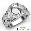 Round Semi Mount Diamond Engagement Ring Halo Pave Set 14k White Gold Band 1.25Ct - javda.com