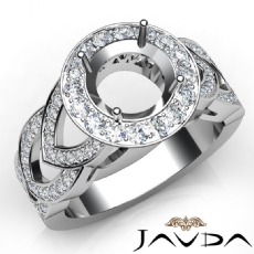Round Semi Mount Diamond Engagement Ring Halo Pave Set 18k Gold White Band  (1.25Ct. tw.)