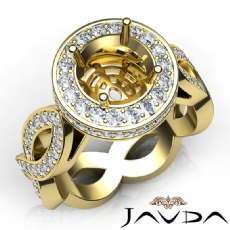 Round Cut Diamond Engagement Ring Pave Setting 14k Gold Yellow Wedding Band  (1.3Ct. tw.)