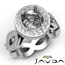 Round Cut Diamond Engagement Ring Pave Setting 14K White Gold Wedding Band 1.3Ct