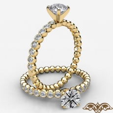 Bezel Bubble 4 Prong Peg Head Round diamond  Ring in 18k Gold Yellow