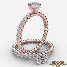 Bezel Bubble 4 Prong Peg Head Round diamond  Ring in 18k Rose Gold