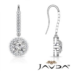Round Shepherd Hook Vintage Style 14k White Gold Earrings Halo Diamond 0.96Ct