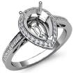 0.5Ct Diamond Engagement Pear Ring 14k White Gold Halo Pave Setting Semi Mount - javda.com