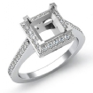 0.5Ct Diamond Engagement Halo Setting Ring Princess Semi Mount 14k White Gold - javda.com