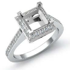 0.50 CT Diamond Engagement Halo Setting Ring Princess Semi Mount 14K White Gold