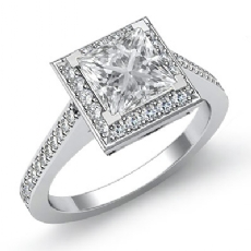 Halo Style Filigree Pave Set Princess diamond engagement Ring in 14k Gold White