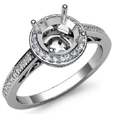 0.50CT Diamond Engagement Ring Halo Pave Setting 14k White Gold Round Semi Mount