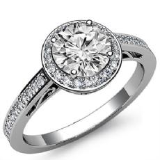 Filigree Basket Halo Sidestone Round diamond engagement Ring in 14k Gold White