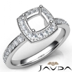 Diamond Engagement Halo Pave Setting Cushion Semi Mount Ring 14k White Gold 0.45Ct - javda.com