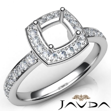 Diamond Engagement Halo Pave Setting Cushion Semi Mount Ring 14K W Gold 0.45Ct
