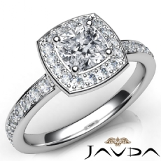Halo Pave Set Wedding Cushion diamond engagement Ring in 14k Gold White