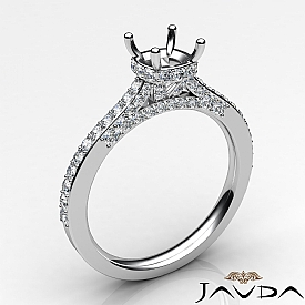 Diamond Engagement Pave Setting 14K White Gold Cushion Semi Mount Ring 0.65Ct