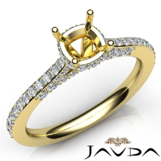 Diamond Engagement Pave Setting 14k Gold Yellow Cushion Semi Mount Ring  (0.65Ct. tw.)