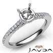 Diamond Engagement Pave Setting 14k White Gold Cushion Semi Mount Ring 0.65Ct - javda.com