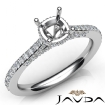 Diamond Engagement Pave Setting 14k White Gold Cushion Semi Mount Ring 0.65Ct - javda.com