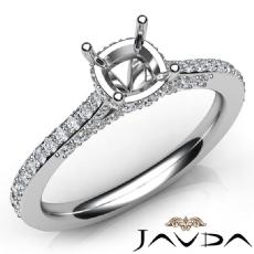 Diamond Engagement Pave Setting 14K White Gold Cushion Semi Mount Ring 0.65Ct