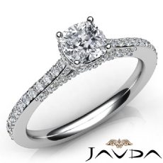 Bridge Accent Pave Set Cushion diamond engagement Ring in 14k Gold White