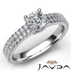 U Prong Set 2 Row Shank Cushion diamond engagement Ring in Platinum 950