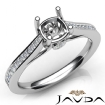 Channel Setting Diamond Engagement Cushion Semi Mount Ring 14k White Gold 0.3Ct - javda.com