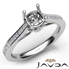 Channel Setting Diamond Engagement Cushion Semi Mount Ring 14K White Gold 0.30Ct