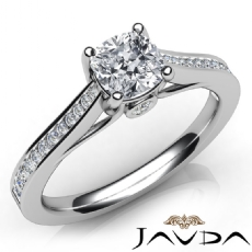 Channel Bezel Prong Set Cushion diamond engagement Ring in 14k Gold White