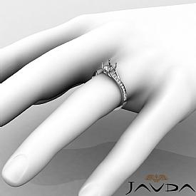 Pave Setting Diamond Engagement Cushion Semi Mount Ring 14K White Gold 0.35Ct