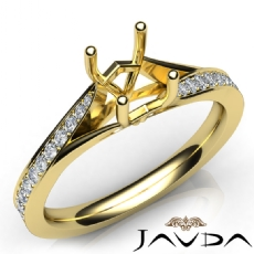 Pave Setting Diamond Engagement Cushion Semi Mount Ring 14k Gold Yellow  (0.35Ct. tw.)
