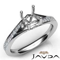 Pave Setting Diamond Engagement Cushion Semi Mount Ring 14K White Gold 0.35Ct