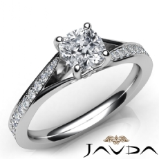 Classic 4 Prong Side Stone Cushion diamond engagement Ring in 14k Gold White