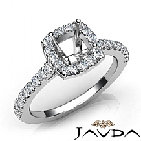 Diamond Engagement Cushion Semi Mount Shared Prong Setting Ring 14K W Gold 0.5Ct