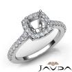 Diamond Engagement Cushion Semi Mount Shared Prong Setting Ring 14k White Gold 0.5Ct - javda.com