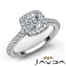 U Cut Pave Set Halo Cushion diamond engagement Ring in 14k Gold White