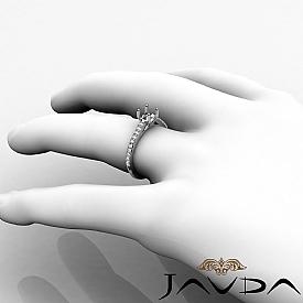 Double Prong Setting Diamond Engagement Cushion Semi Mount Ring 14K W Gold 0.3Ct