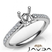 Double Prong Setting Diamond Engagement Cushion Semi Mount Ring 14k White Gold 0.3Ct - javda.com
