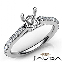 Double Prong Setting Diamond Engagement Cushion Semi Mount Ring 14K W Gold 0.3Ct