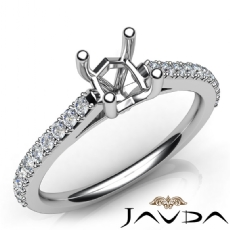 Double Prong Setting Diamond Engagement Cushion Semi Mount Ring 18k Gold White  (0.3Ct. tw.)