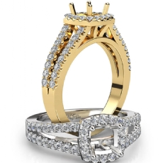 Gorgeous Halo Prong Diamond Engagement Cushion Semi Mount Ring 18k Gold Yellow  (0.75Ct. tw.)