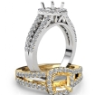 Gorgeous Halo Prong Diamond Engagement Cushion Semi Mount Ring 14k White Gold 0.75Ct - javda.com