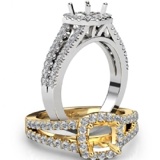 Gorgeous Halo Prong Diamond Engagement Cushion Semi Mount Ring 18k Gold White  (0.75Ct. tw.)