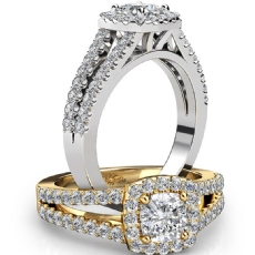 French U Pave Halo Split Shank Cushion diamond engagement Ring in 14k Gold White