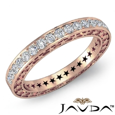 Round Pave Diamond Star Eternity Wedding Ring 14k Rose Gold Womens Band  (0.45Ct. tw.)