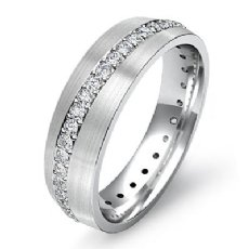 0.50 Ct Pave Diamond Eternity Men's Wedding Band Matte Finish 14k White Gold
