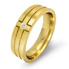 Men's 14k Gold Yellow Cross Diamond Matte Eternity Wedding Band  (0.3Ct. tw.)