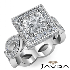 Circa Halo Infinity Shank Princess diamond engagement Ring in 14k Gold White