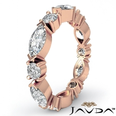 Classic Women's Eternity Band 14k Rose Gold Marquise Round Diamond Ring  (1.62Ct. tw.)