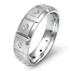 Beveled Edge Matte Diamond Eternity Men's Wedding Band 14k White Gold 0.15 Ct